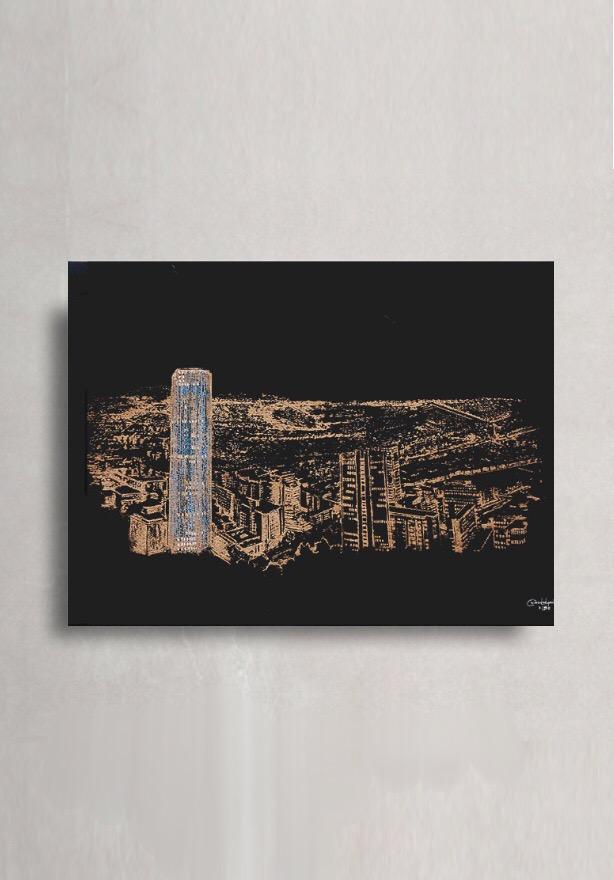 Serigrafía Bogotá nocturna